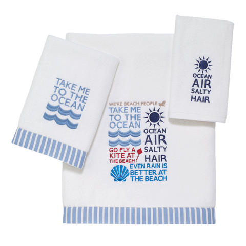 Coastal Bath Beach Words Towel Collection