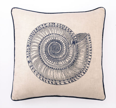 Gulf Shores Shell Linen Coastal Decor Pillow