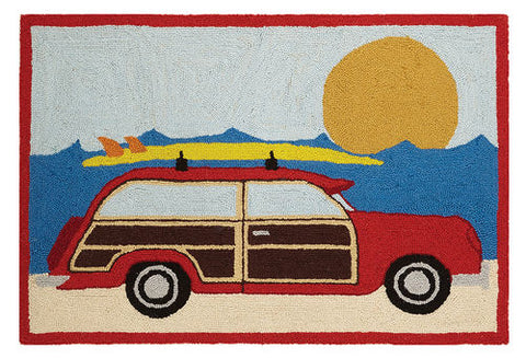Woody Red Wagon Hook Rug - By the Sea Beach Decor