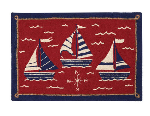 Sail & Explore Throw Rug - By the Sea Beach Decor