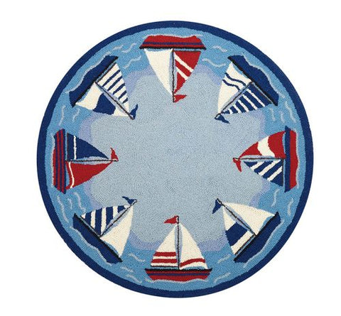 Sailing Around the World Throw Rug - By the Sea Beach Decor