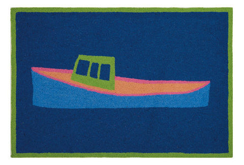 Lobster Boat Beach Throw Rug