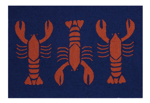 Red Lobster Nautical Throw Rug - By the Sea Beach Decor