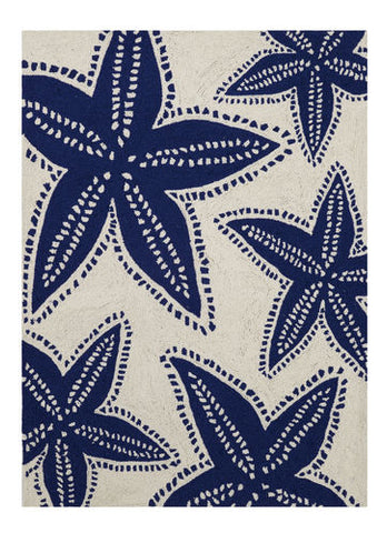 Starfish Navy Beach Throw Rug - By the Sea Beach Decor