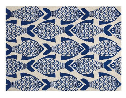 Blue Fish Hook Throw Rug - By the Sea Beach Decor