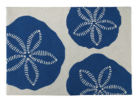 Blue Sand Dollar Hook Rug - By the Sea Beach Decor