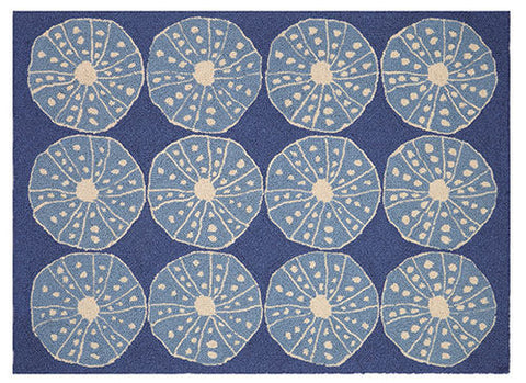 Blue Urchin Hook Rug - By the Sea Beach Decor