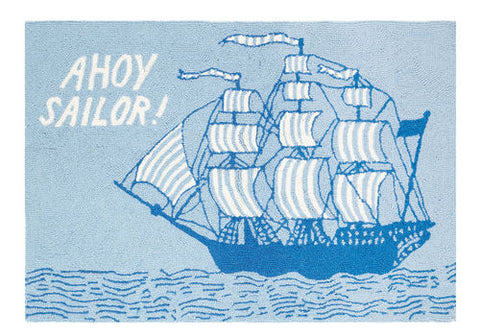 Ahoy Sailor Nautical Decor Throw Rug - By the Sea Beach Decor