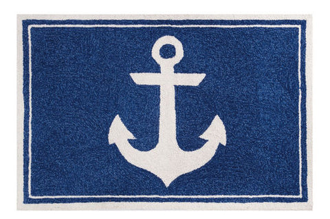 Navy Anchor Throw Rug - By the Sea Beach Decor