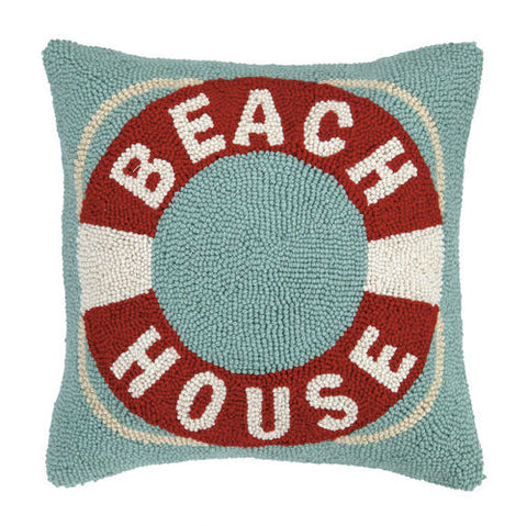 Beach House Life Preserver Hook Pillow - By the Sea Beach Decor