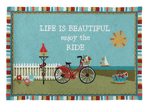 Beach Bike Ride Hook Rug - By the Sea Beach Decor