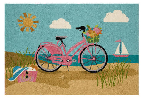 Beach Bike Coastal Throw Rug - By the Sea Beach Decor