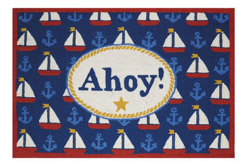 Ahoy Hook Throw Rug - By the Sea Beach Decor