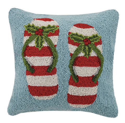 Coastal Holiday Flip Flop Hook Pillow