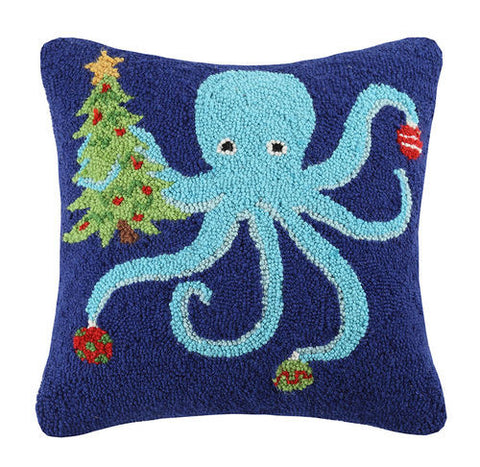 Coastal Holiday Octopus Hook Pillow - By the Sea Beach Decor