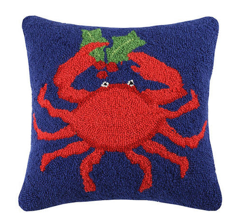 Coastal Holiday Holly Crab Hook Pillow - By the Sea Beach Decor