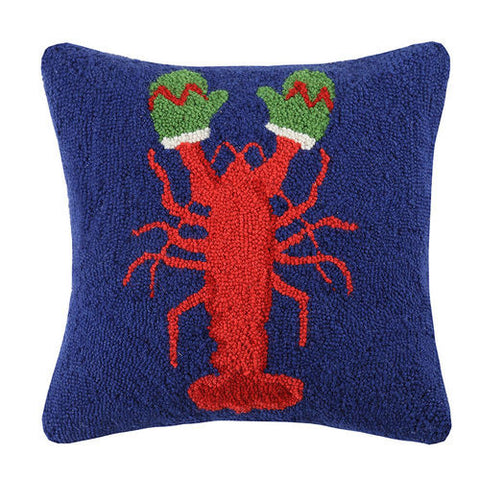 Coastal Holiday Lobster Hook Pillow - By the Sea Beach Decor