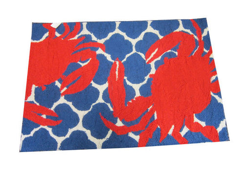 Red Crab Hook Throw Rug - By the Sea Beach Decor
