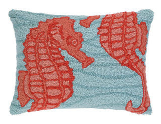 Katama Beach Seahorse Hook Pillow - By the Sea Beach Decor