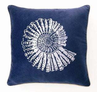 "Lubec Velvet Nautilus Shell 18"" Pillow - By the Sea Beach Decor"
