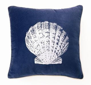 "Lubec Velvet Scallop Shell 18"" Pillow - By the Sea Beach Decor"