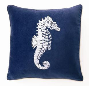 "Lubec Velvet Seahorse 18"" Pillow - By the Sea Beach Decor"