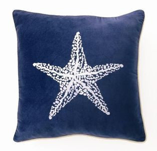 "Lubec Velvet Starfish 18"" Pillow - By the Sea Beach Decor"