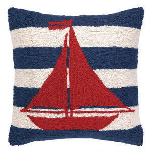 "Nantucket Striped Sailboat 18"" Hook Pillow - By the Sea Beach Decor"