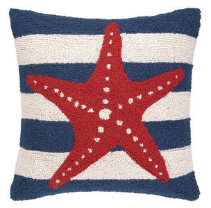 "Nantucket Striped Starfish 18"" Hook Pillow - By the Sea Beach Decor"