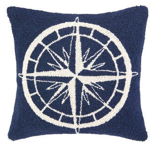 Rehoboth Compass Hook Pillow - By the Sea Beach Decor