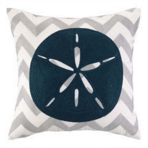 Charleston Sand Dollar Embroidered Chevron Pillow - By the Sea Beach Decor