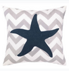Charleston Seastar Embroidered Chevron Pillow - By the Sea Beach Decor