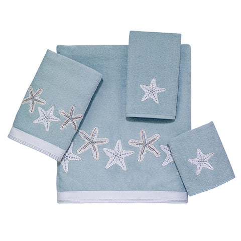 Sequin Shells Aqua Towel Collection