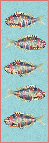 Very Fishy Blue Vertical Panel 1 Wood Print - By the Sea Beach Decor