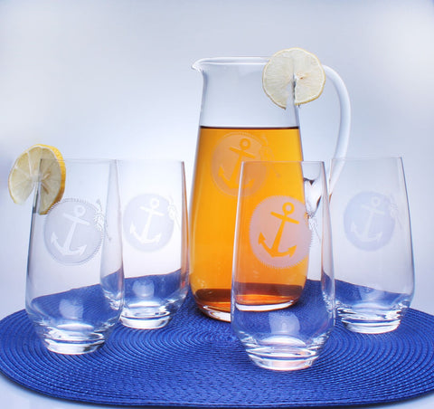 Anchorage Engraved Glassware - By the Sea Beach Decor