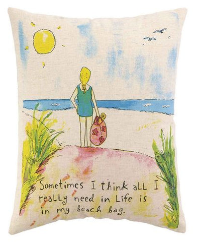 Beach Bag Printed Pillow - By the Sea Beach Decor