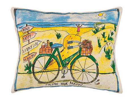 Beach Bike Printed Pillow - By the Sea Beach Decor