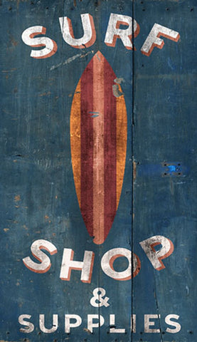Surf Shop Wooden Artwork Print - By the Sea Beach Decor