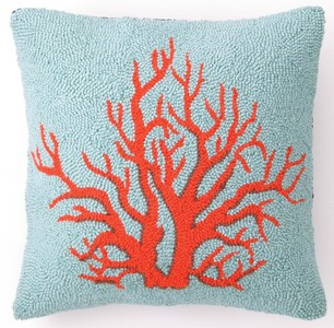 Brant Beach Coral Hook Pillow - By the Sea Beach Decor