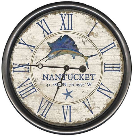 Seacliff Sailfish Clock - By the Sea Beach Decor