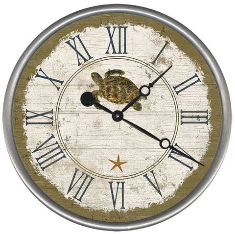 Seacliff Turtle Beach Clock - By the Sea Beach Decor