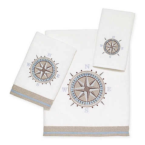 Compass White Towel Collection - By the Sea Beach Decor