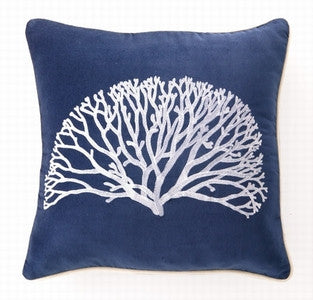 Velvet Fan Coral Beach Decor Embroidered Pillow