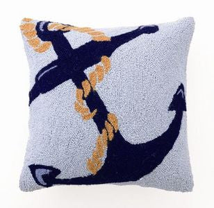 Blue Anchor Hook Pillow - By the Sea Beach Decor