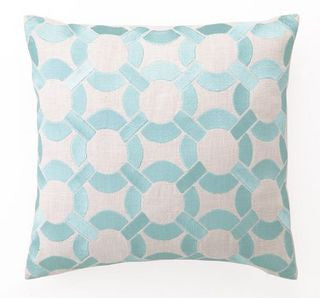 Robin's Egg Blue Link Embroidered Linen Pillow