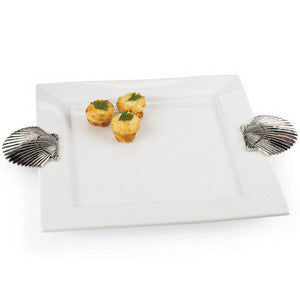 Square Shell Handle Platter - By the Sea Beach Decor