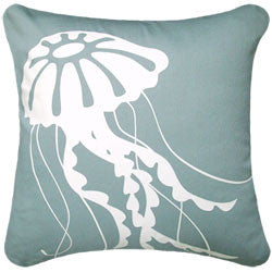 Oceanside Aqua Jellyfish Pillow - By the Sea Beach Decor