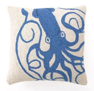 Sagamore Blue Squid Hook Pillow - By the Sea Beach Decor