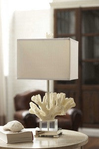 Coral & Chrome Table Lamp - By the Sea Beach Decor