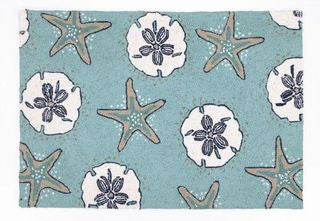 Sand Dollars & Starfish Beach Decor Throw Rug